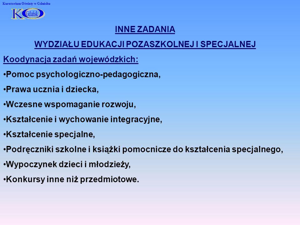Kuratorium Oświaty w Gdańsku INNE ZADANIA WYDZIAŁU EDUKACJI POZASZKOLNEJ I SPECJALNEJ Koodynacja zadań wojewódzkich: Pomoc psychologiczno-pedagogiczna, Prawa ucznia i dziecka, Wczesne wspomaganie rozwoju, Kształcenie i wychowanie integracyjne, Kształcenie specjalne, Podręczniki szkolne i książki pomocnicze do kształcenia specjalnego, Wypoczynek dzieci i młodzieży, Konkursy inne niż przedmiotowe.