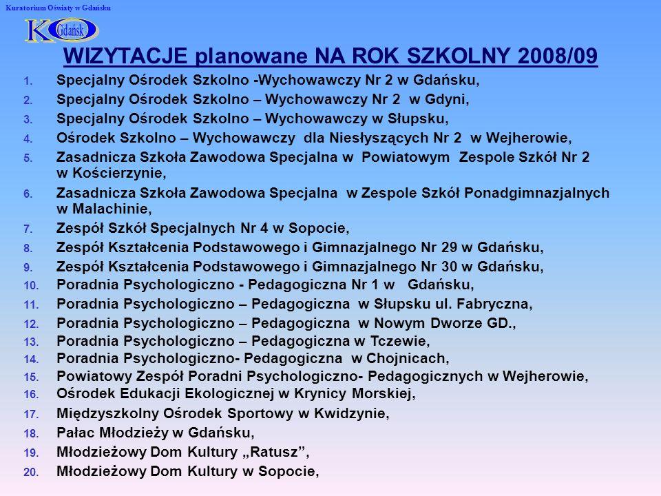 Kuratorium Oświaty w Gdańsku WIZYTACJE planowane NA ROK SZKOLNY 2008/09 1.