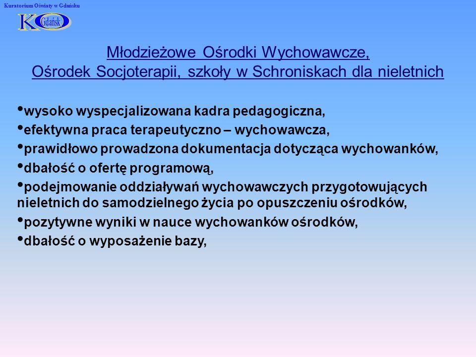 Kuratorium Oświaty w Gdańsku Młodzieżowe Ośrodki Wychowawcze, Ośrodek Socjoterapii, szkoły w Schroniskach dla nieletnich wysoko wyspecjalizowana kadra pedagogiczna, efektywna praca terapeutyczno – wychowawcza, prawidłowo prowadzona dokumentacja dotycząca wychowanków, dbałość o ofertę programową, podejmowanie oddziaływań wychowawczych przygotowujących nieletnich do samodzielnego życia po opuszczeniu ośrodków, pozytywne wyniki w nauce wychowanków ośrodków, dbałość o wyposażenie bazy,