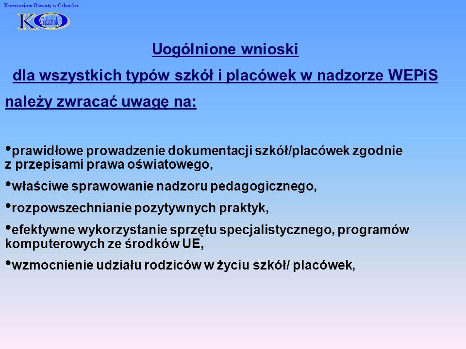 Kuratorium Oświaty w Gdańsku Uogólnione wnioski dla wszystkich typów szkół i placówek w nadzorze WEPiS należy zwracać uwagę na: prawidłowe prowadzenie dokumentacji szkół/placówek zgodnie z przepisami prawa oświatowego, właściwe sprawowanie nadzoru pedagogicznego, rozpowszechnianie pozytywnych praktyk, efektywne wykorzystanie sprzętu specjalistycznego, programów komputerowych ze środków UE, wzmocnienie udziału rodziców w życiu szkół/ placówek,