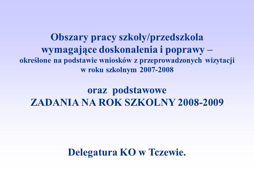 Obszary pracy szkoły/przedszkola wymagające doskonalenia i poprawy – określone na podstawie wniosków z przeprowadzonych wizytacji w roku szkolnym 2007-2008 oraz podstawowe ZADANIA NA ROK SZKOLNY 2008-2009 Delegatura KO w Tczewie.