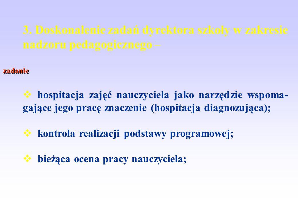 3. Doskonalenie zadań dyrektora szkoły w zakresie nadzoru pedagogicznego – hospitacja zajęć nauczyciela jako narzędzie wspoma- gające jego pracę znacz