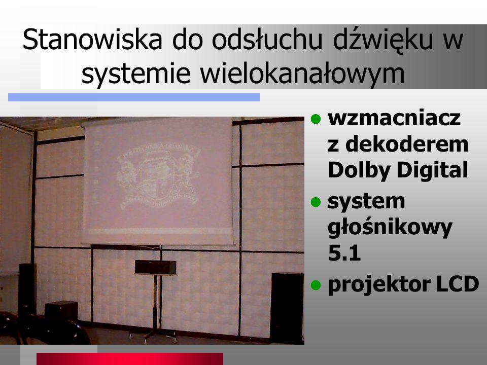 Stanowiska do odsłuchu dźwięku w systemie wielokanałowym wzmacniacz z dekoderem Dolby Digital system głośnikowy 5.1 projektor LCD