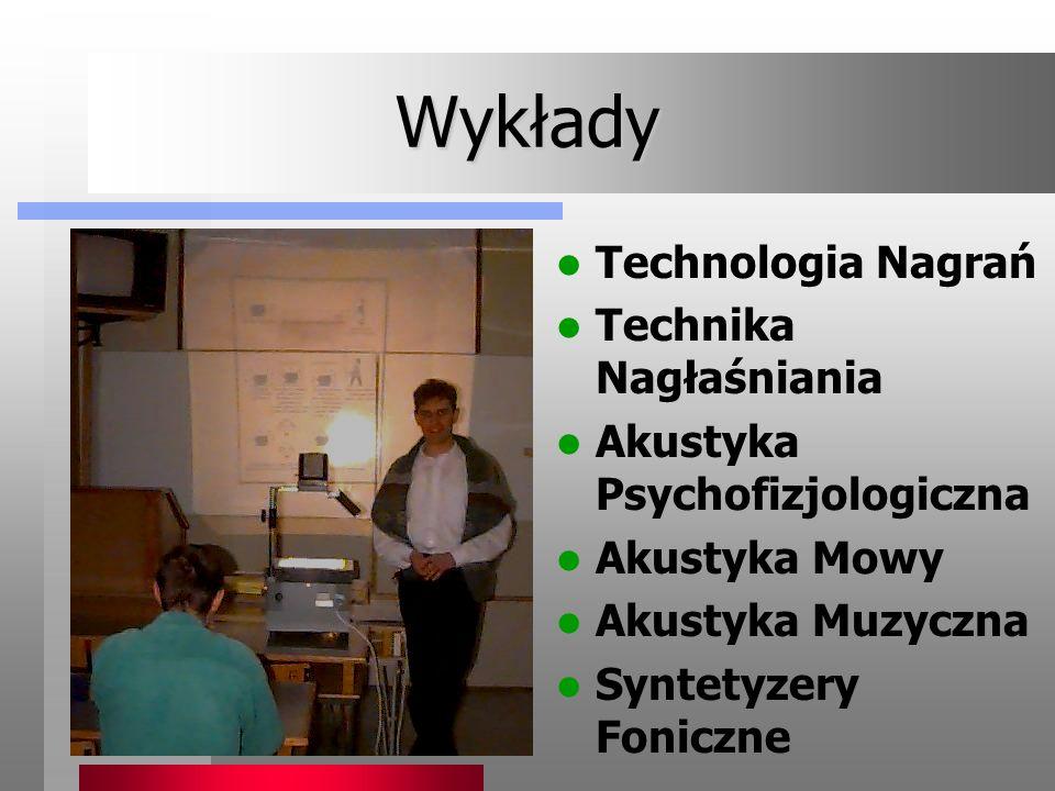 Wykłady Technologia Nagrań Technika Nagłaśniania Akustyka Psychofizjologiczna Akustyka Mowy Akustyka Muzyczna Syntetyzery Foniczne