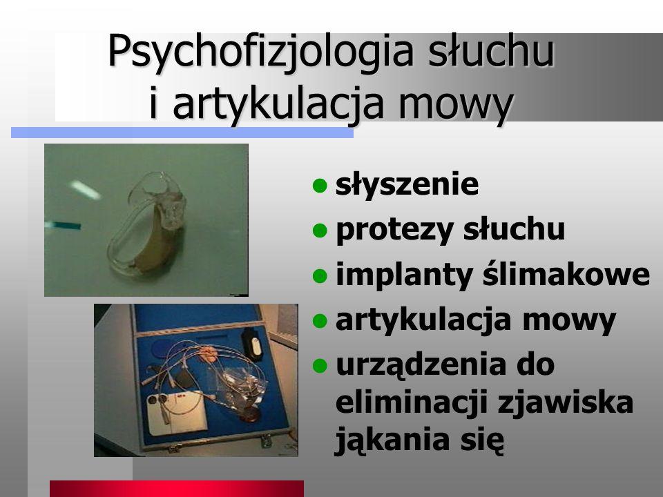 Psychofizjologia słuchu i artykulacja mowy słyszenie protezy słuchu implanty ślimakowe artykulacja mowy urządzenia do eliminacji zjawiska jąkania się