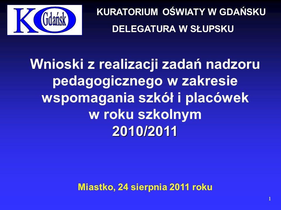 Wnioski z realizacji zadań nadzoru pedagogicznego w zakresie wspomagania szkół i placówek w roku szkolnym2010/2011 Miastko, 24 sierpnia 2011 roku KURATORIUM OŚWIATY W GDAŃSKU DELEGATURA W SŁUPSKU 1