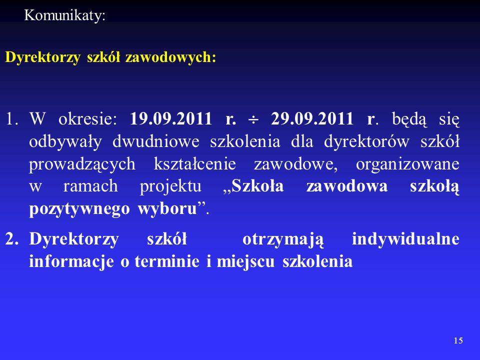 Dyrektorzy szkół zawodowych: 1.W okresie: 19.09.2011 r. 29.09.2011 r. będą się odbywały dwudniowe szkolenia dla dyrektorów szkół prowadzących kształce