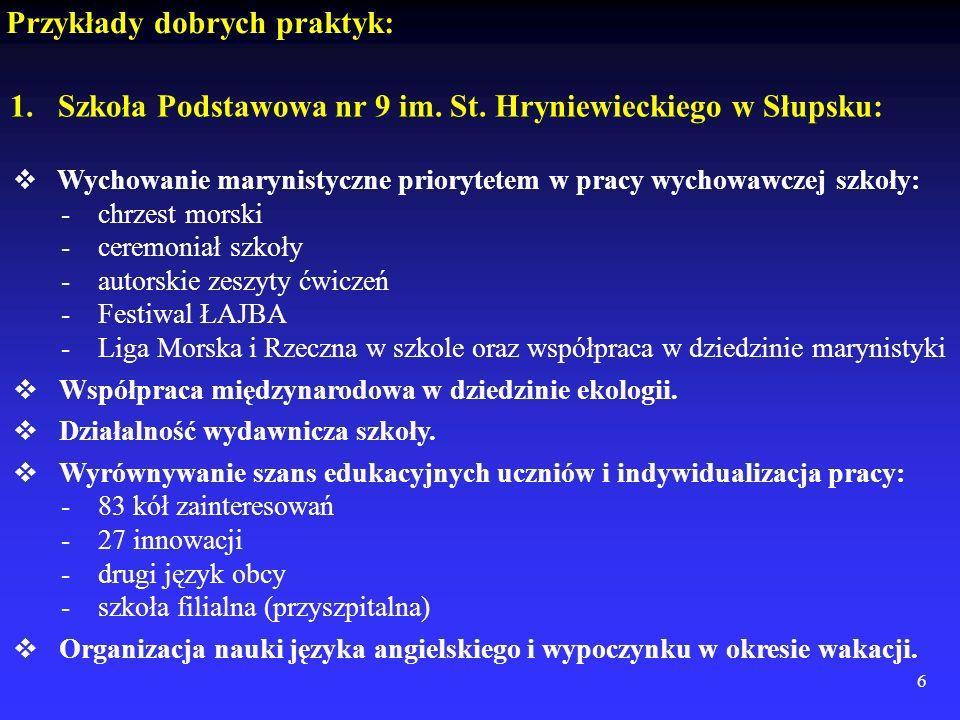 6 Przykłady dobrych praktyk: 1.Szkoła Podstawowa nr 9 im. St. Hryniewieckiego w Słupsku: Wychowanie marynistyczne priorytetem w pracy wychowawczej szk