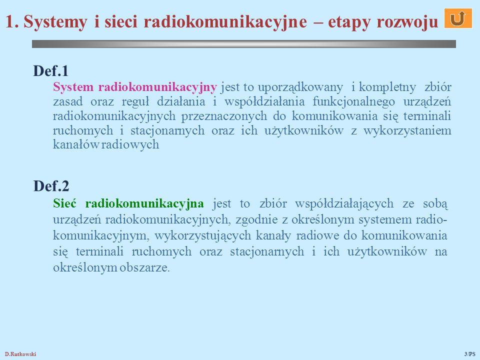 D.Rutkowski3/PS Def.1 System radiokomunikacyjny jest to uporządkowany i kompletny zbiór zasad oraz reguł działania i współdziałania funkcjonalnego urządzeń radiokomunikacyjnych przeznaczonych do komunikowania się terminali ruchomych i stacjonarnych oraz ich użytkowników z wykorzystaniem kanałów radiowych Def.2 Sieć radiokomunikacyjna jest to zbiór współdziałających ze sobą urządzeń radiokomunikacyjnych, zgodnie z określonym systemem radio- komunikacyjnym, wykorzystujących kanały radiowe do komunikowania się terminali ruchomych oraz stacjonarnych i ich użytkowników na określonym obszarze.