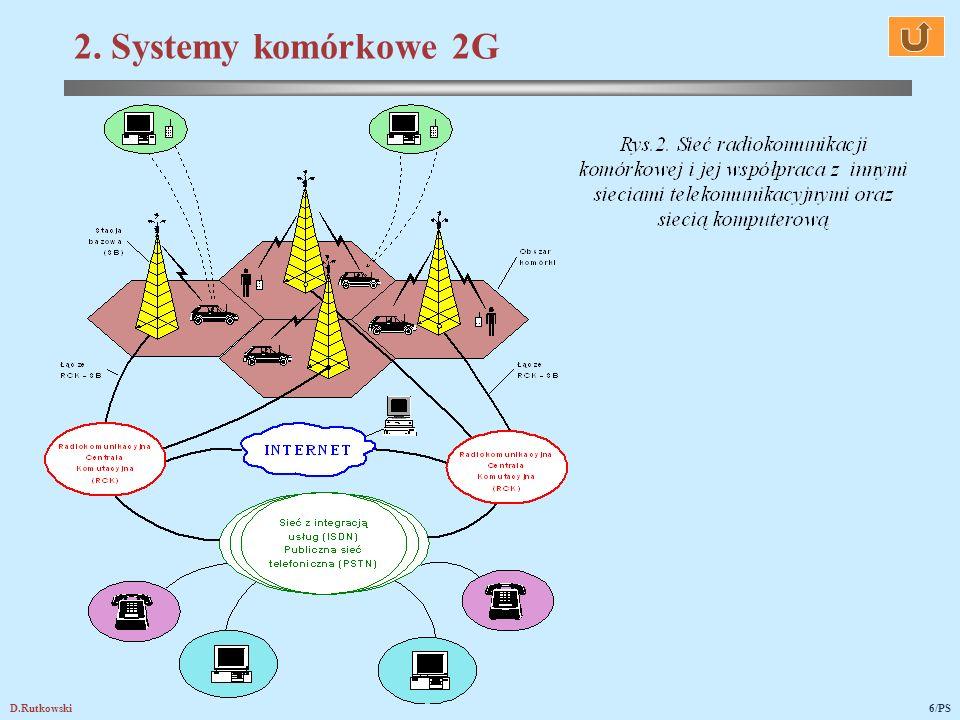 D.Rutkowski17/PS teoria i technika systemów oraz sieci radiokomunikacyjnych – komórkowych, trankingowych i bezprzewodowych trzeciej generacji i ich ewolucja, modulacje i detekcje cyfrowe, kodowanie/dekodowanie źródłowe i kanałowe, rozpraszanie/skupianie widma sygnałów, oprogramowanie protokołów komunikacyjnych i usług w systemach i sieciach radiokomunikacyjnych, anteny systemów radiokomunikacyjnych, w tym zespoły wieloantenowe i anteny adaptacyjne, propagacja fal radiowych, wyznaczanie zasięgów nadajników radiowych na mapach cyfrowych odbiór adaptacyjny, projektowanie sieci komórkowych, trankingowych i bezprzewodowych, radiofonia i telewizja cyfrowa 6.