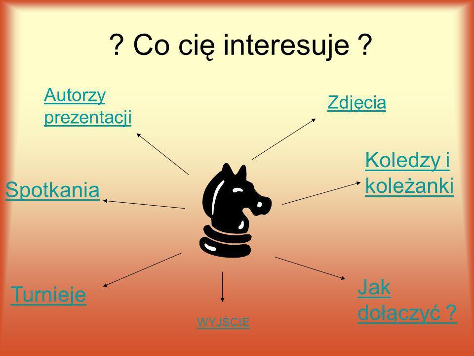 Co cię interesuje .Spotkania Koledzy i koleżanki Autorzy prezentacji Turnieje Jak dołączyć .