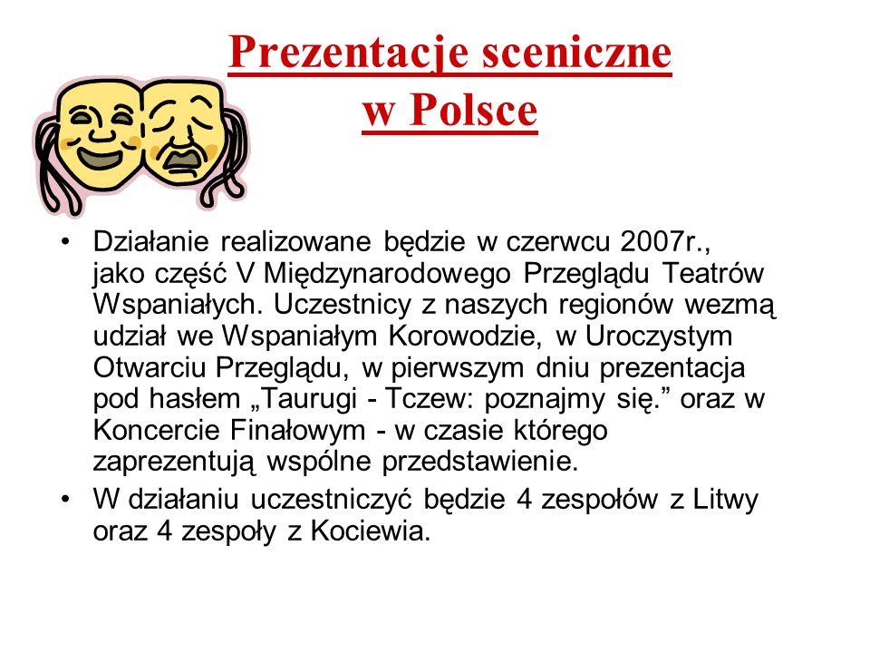 Prezentacje sceniczne w Polsce Działanie realizowane będzie w czerwcu 2007r., jako część V Międzynarodowego Przeglądu Teatrów Wspaniałych. Uczestnicy