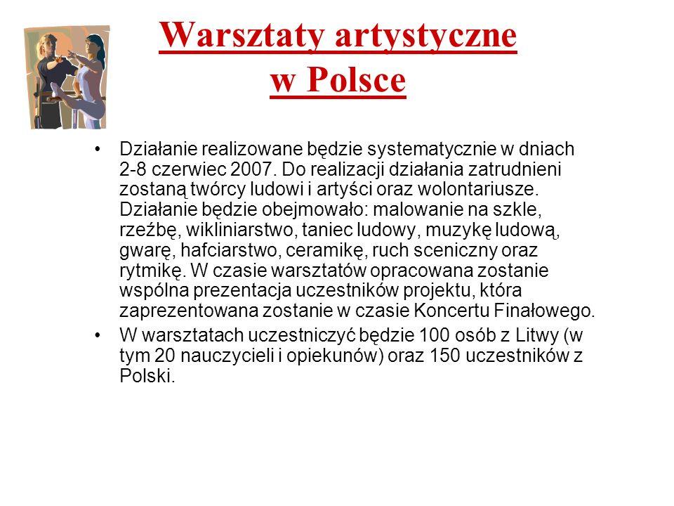 Warsztaty artystyczne w Polsce Działanie realizowane będzie systematycznie w dniach 2-8 czerwiec 2007. Do realizacji działania zatrudnieni zostaną twó