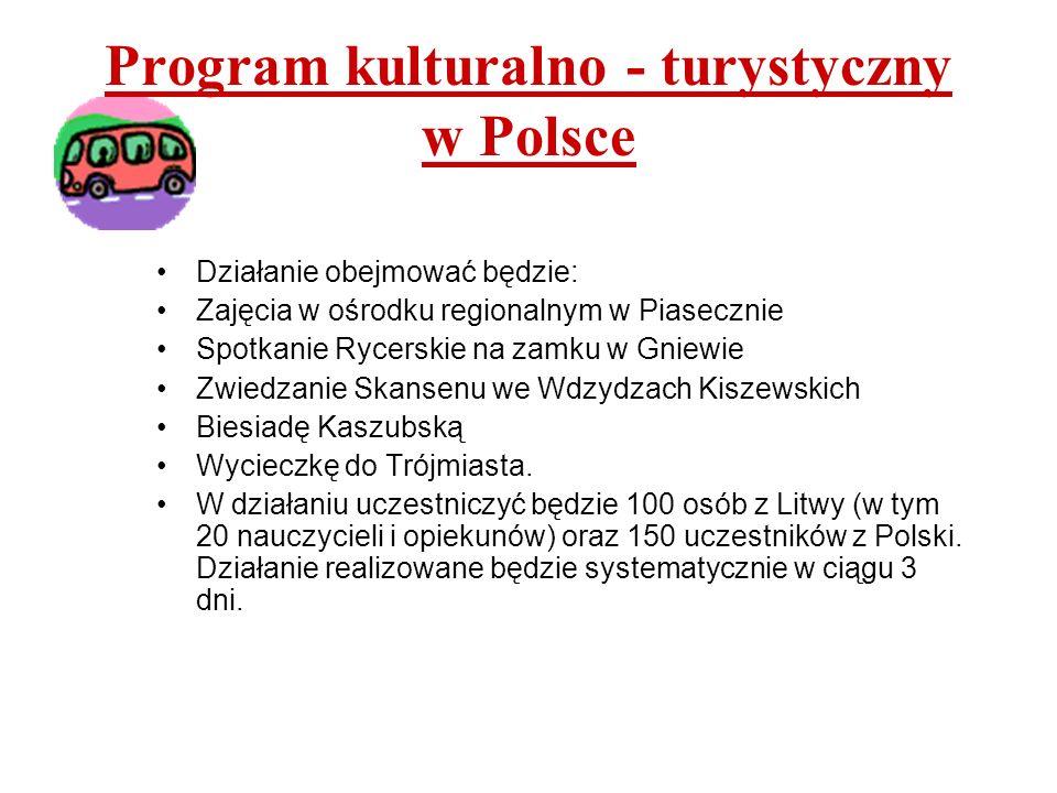 Program kulturalno - turystyczny na Litwie Działanie obejmować będzie: Ogród Zimowy w Kretindze Muzeum Morskie w Kłajpedzie Zwiedzanie Taurugów Zajęcia w Delfinarium W działaniu uczestniczyć będzie 50 osób z Polski oraz 50 osób z Litwy.