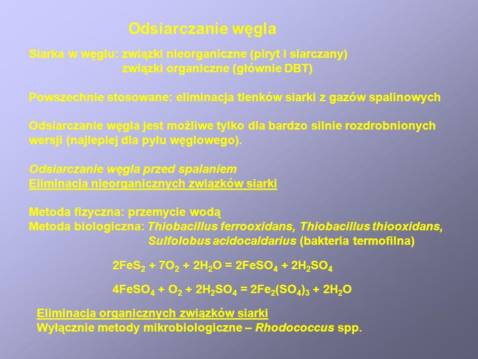 Odsiarczanie węgla Siarka w węglu: związki nieorganiczne (piryt i siarczany) związki organiczne (głównie DBT) Powszechnie stosowane: eliminacja tlenkó