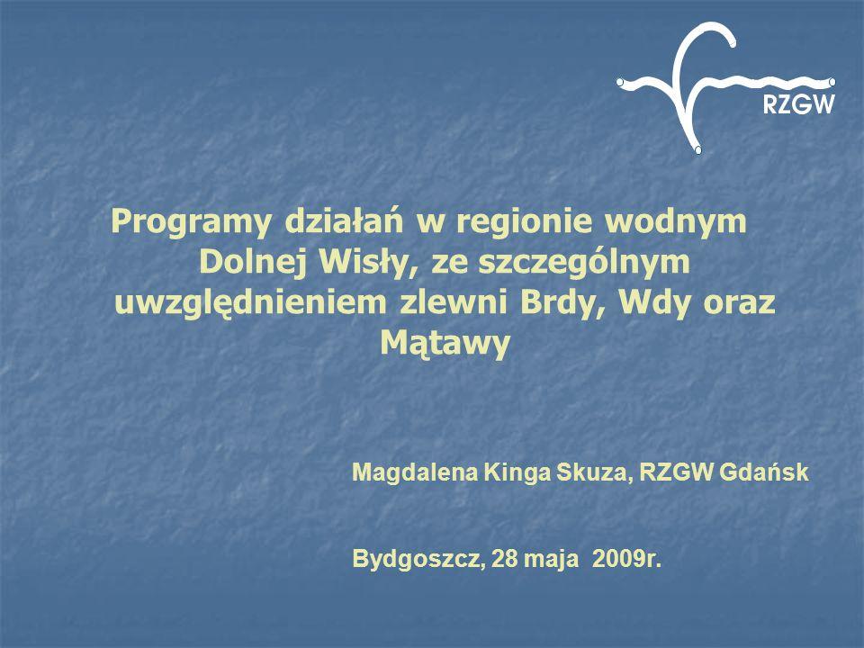 Programy działań w regionie wodnym Dolnej Wisły, ze szczególnym uwzględnieniem zlewni Brdy, Wdy oraz Mątawy Magdalena Kinga Skuza, RZGW Gdańsk Bydgosz