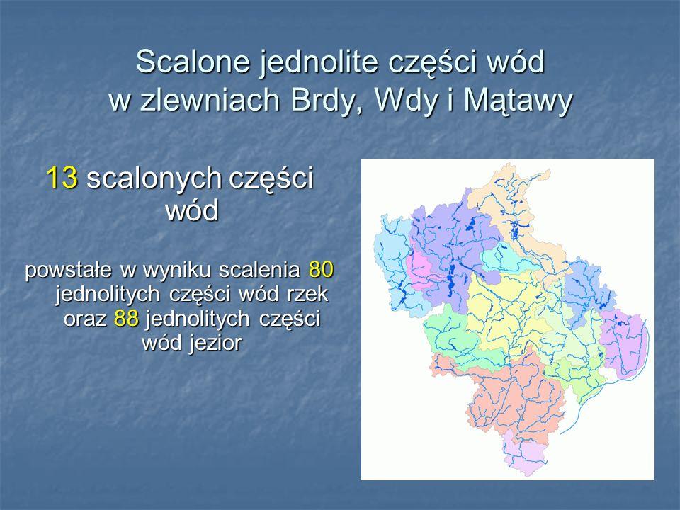 Scalone jednolite części wód w zlewniach Brdy, Wdy i Mątawy 13 scalonych części wód powstałe w wyniku scalenia 80 jednolitych części wód rzek oraz 88