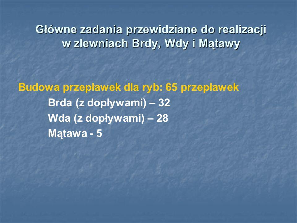 Główne zadania przewidziane do realizacji w zlewniach Brdy, Wdy i Mątawy Budowa przepławek dla ryb: 65 przepławek Brda (z dopływami) – 32 Wda (z dopły