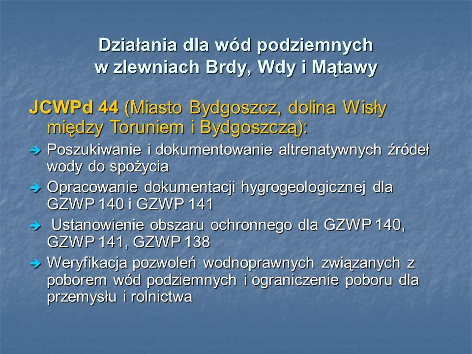 Działania dla wód podziemnych w zlewniach Brdy, Wdy i Mątawy JCWPd 44 (Miasto Bydgoszcz, dolina Wisły między Toruniem i Bydgoszczą): Poszukiwanie i do