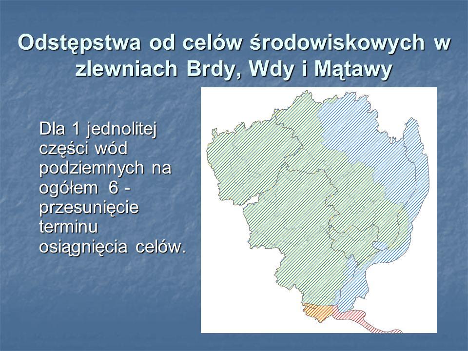 Odstępstwa od celów środowiskowych w zlewniach Brdy, Wdy i Mątawy Dla 1 jednolitej części wód podziemnych na ogółem 6 - przesunięcie terminu osiągnięc