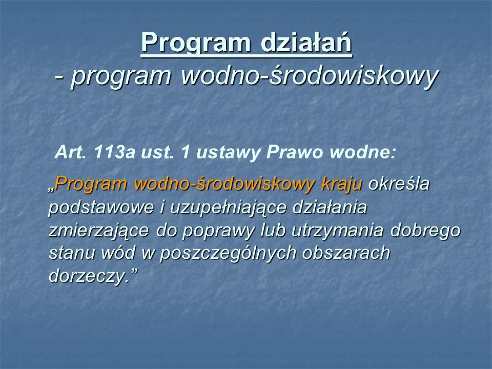 Program działań - program wodno-środowiskowy Art. 113a ust. 1 ustawy Prawo wodne: Program wodno-środowiskowy kraju określa podstawowe i uzupełniające