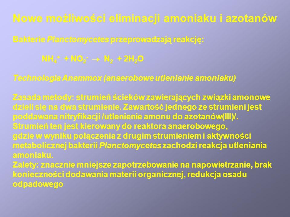 Nowe możliwości eliminacji amoniaku i azotanów Bakterie Planctomycetes przeprowadzają reakcję: NH 4 + + NO 2 - N 2 + 2H 2 O Technologia Anammox (anaerobowe utlenianie amoniaku) Zasada metody: strumień ścieków zawierających związki amonowe dzieli się na dwa strumienie.