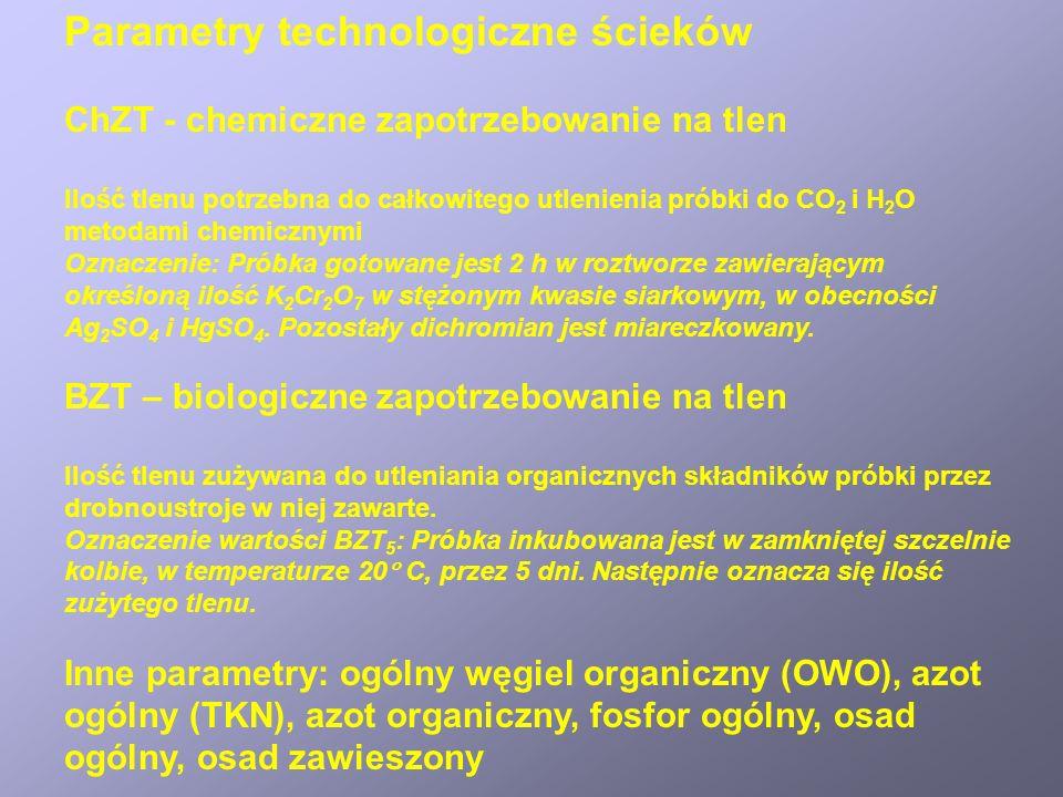 Parametry technologiczne ścieków ChZT - chemiczne zapotrzebowanie na tlen Ilość tlenu potrzebna do całkowitego utlenienia próbki do CO 2 i H 2 O metodami chemicznymi Oznaczenie: Próbka gotowane jest 2 h w roztworze zawierającym określoną ilość K 2 Cr 2 O 7 w stężonym kwasie siarkowym, w obecności Ag 2 SO 4 i HgSO 4.