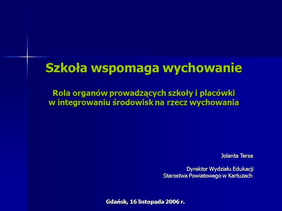 Szkoła wspomaga wychowanie Rola organów prowadzących szkoły i placówki w integrowaniu środowisk na rzecz wychowania Jolanta Tersa Dyrektor Wydziału Edukacji Starostwa Powiatowego w Kartuzach Gdańsk, 16 listopada 2006 r.