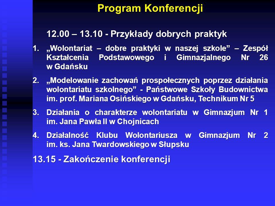 Program Konferencji 12.00 – 13.10 - Przykłady dobrych praktyk 1.Wolontariat – dobre praktyki w naszej szkole – Zespół Kształcenia Podstawowego i Gimna