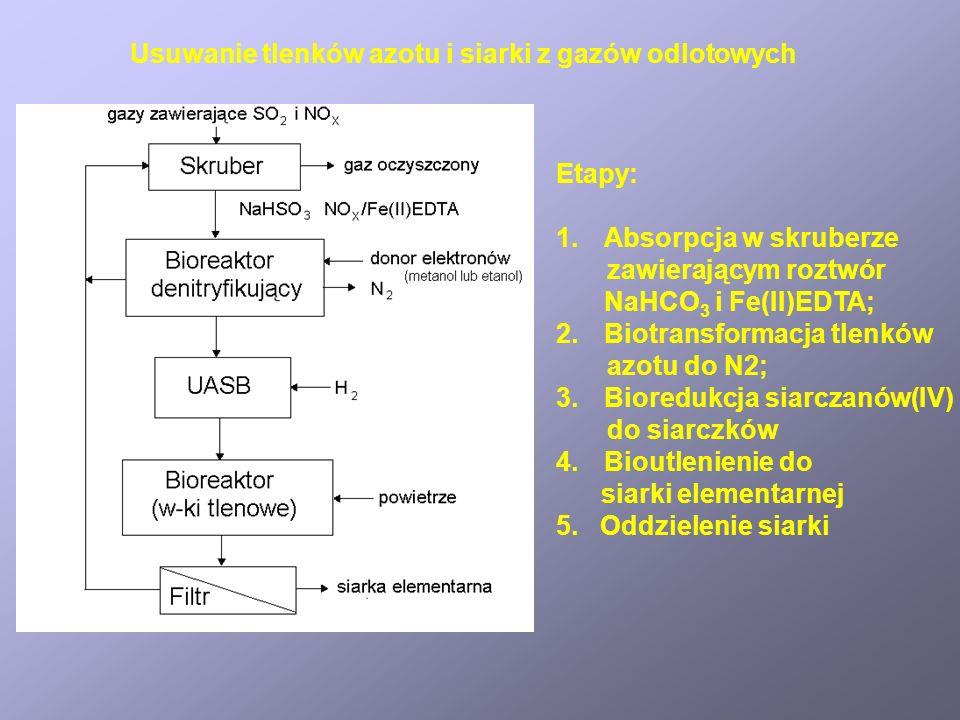 Usuwanie tlenków azotu i siarki z gazów odlotowych Etapy: 1.Absorpcja w skruberze zawierającym roztwór NaHCO 3 i Fe(II)EDTA; 2.Biotransformacja tlenkó