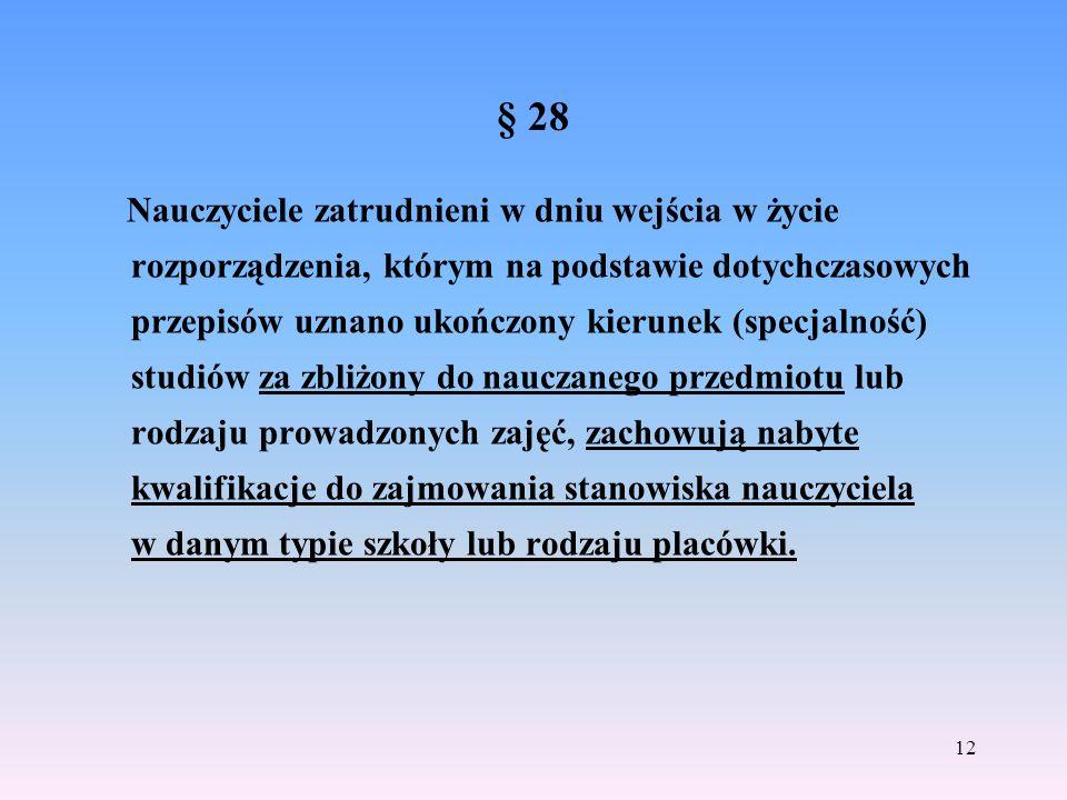 § 28 Nauczyciele zatrudnieni w dniu wejścia w życie rozporządzenia, którym na podstawie dotychczasowych przepisów uznano ukończony kierunek (specjalno