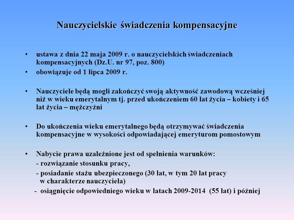 Nauczycielskie świadczenia kompensacyjne ustawa z dnia 22 maja 2009 r. o nauczycielskich świadczeniach kompensacyjnych (Dz.U. nr 97, poz. 800) obowiąz
