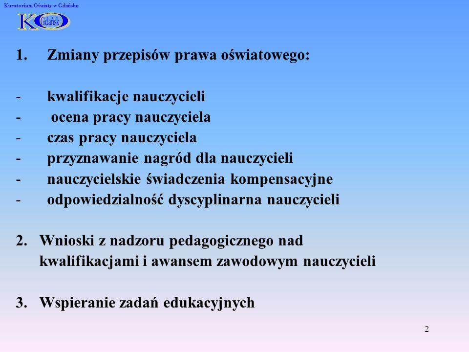Kwalifikacje nauczycieli Rozporządzenie Ministra Edukacji Narodowej z dnia 12 marca 2009 r.