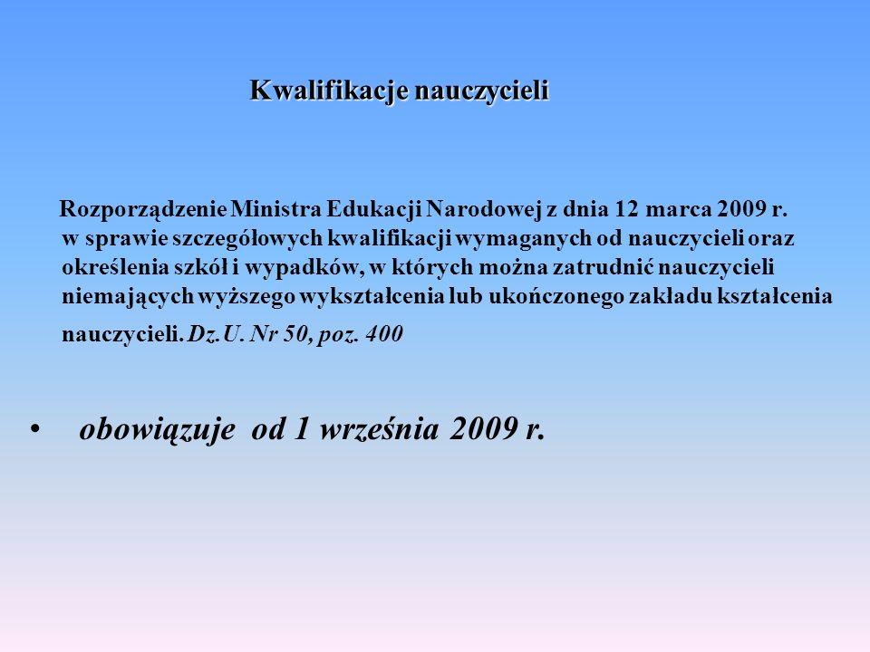 Kwalifikacje nauczycieli Rozporządzenie Ministra Edukacji Narodowej z dnia 12 marca 2009 r. w sprawie szczegółowych kwalifikacji wymaganych od nauczyc