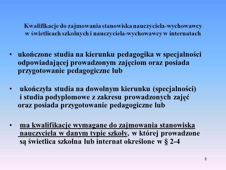 Kwalifikacje do zajmowania stanowiska nauczyciela-wychowawcy w świetlicach szkolnych i nauczyciela-wychowawcy w internatach ukończone studia na kierun