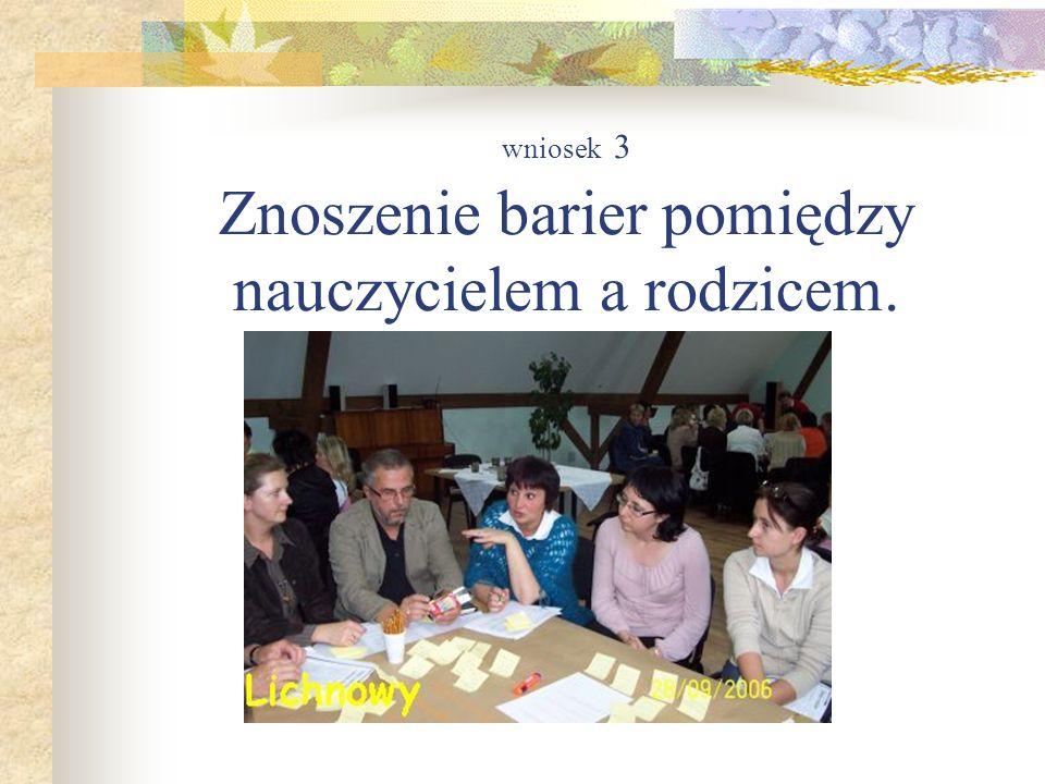 wniosek 3 Znoszenie barier pomiędzy nauczycielem a rodzicem.