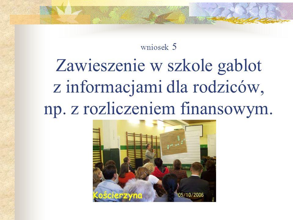 wniosek 5 Zawieszenie w szkole gablot z informacjami dla rodziców, np. z rozliczeniem finansowym.