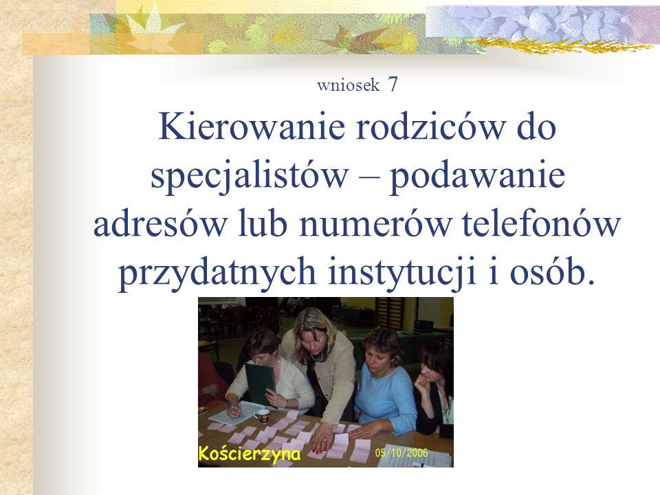 wniosek 7 Kierowanie rodziców do specjalistów – podawanie adresów lub numerów telefonów przydatnych instytucji i osób.