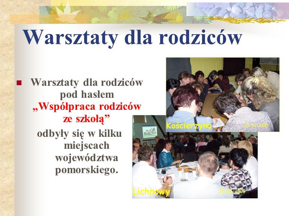 Warsztaty dla rodziców Warsztaty dla rodziców pod hasłemWspółpraca rodziców ze szkołą odbyły się w kilku miejscach województwa pomorskiego.