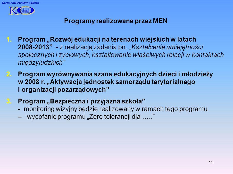 11 Kuratorium Oświaty w Gdańsku Programy realizowane przez MEN 1.Program Rozwój edukacji na terenach wiejskich w latach 2008-2013 - z realizacją zadania pn.
