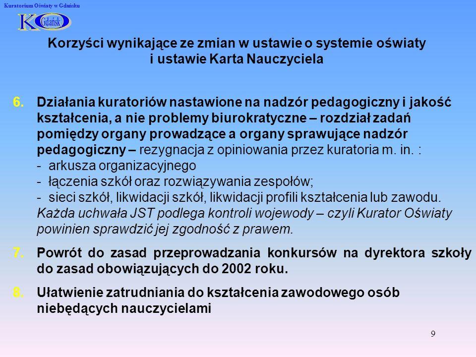 10 Kuratorium Oświaty w Gdańsku Propozycje nowych rozporządzeń MEN 1.Rozporządzenie o wypoczynku 2.Projekt rozporządzenia w sprawie szczegółowych kwalifikacji wymaganych od nauczycieli oraz określenia szkół i wypadków, w których można zatrudnić nauczycieli niemających wyższego wykształcenia lub ukończonego zakładu kształcenia nauczycieli 3.Rozporządzenie w sprawie warunków i sposobu oceniania, klasyfikowania i promowania uczniów i słuchaczy oraz przeprowadzania sprawdzianów i egzaminów w szkołach publicznych.