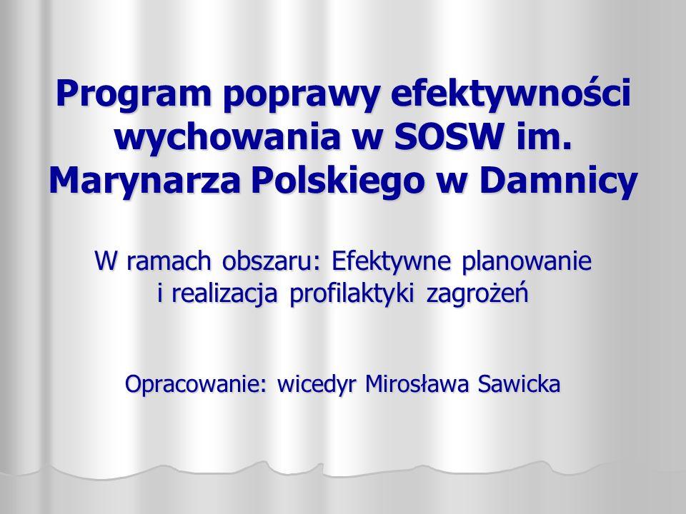 Program poprawy efektywności wychowania w SOSW im. Marynarza Polskiego w Damnicy W ramach obszaru: Efektywne planowanie i realizacja profilaktyki zagr
