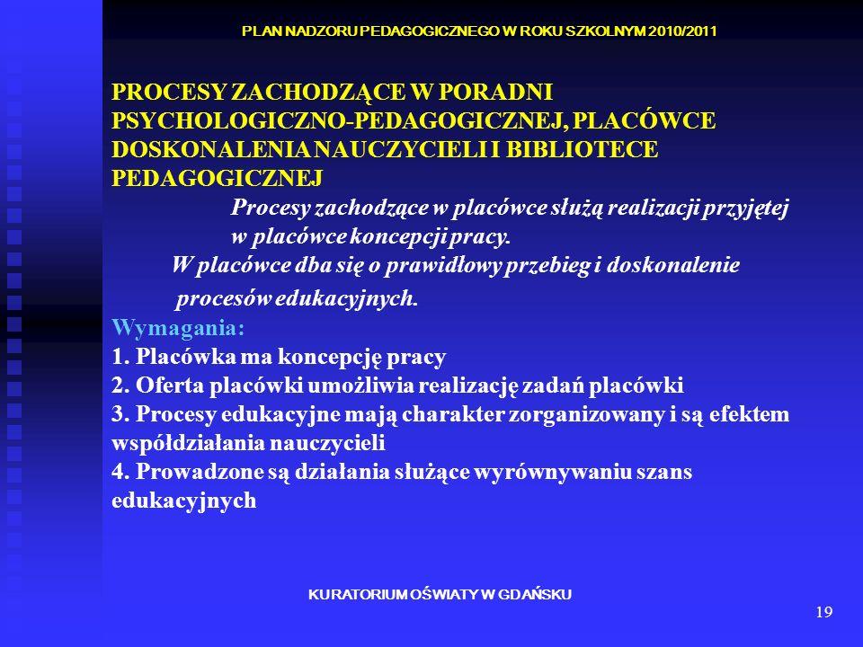 19 KURATORIUM OŚWIATY W GDAŃSKU PLAN NADZORU PEDAGOGICZNEGO W ROKU SZKOLNYM 2010/2011 PROCESY ZACHODZĄCE W PORADNI PSYCHOLOGICZNO-PEDAGOGICZNEJ, PLACÓ