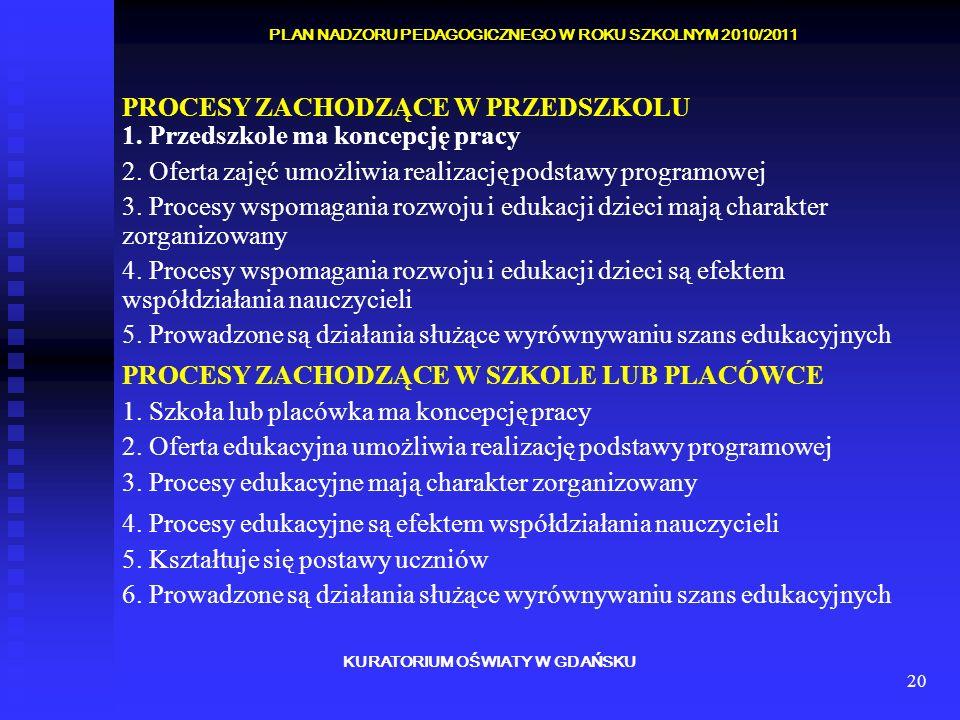 20 KURATORIUM OŚWIATY W GDAŃSKU PLAN NADZORU PEDAGOGICZNEGO W ROKU SZKOLNYM 2010/2011 PROCESY ZACHODZĄCE W PRZEDSZKOLU 1. Przedszkole ma koncepcję pra