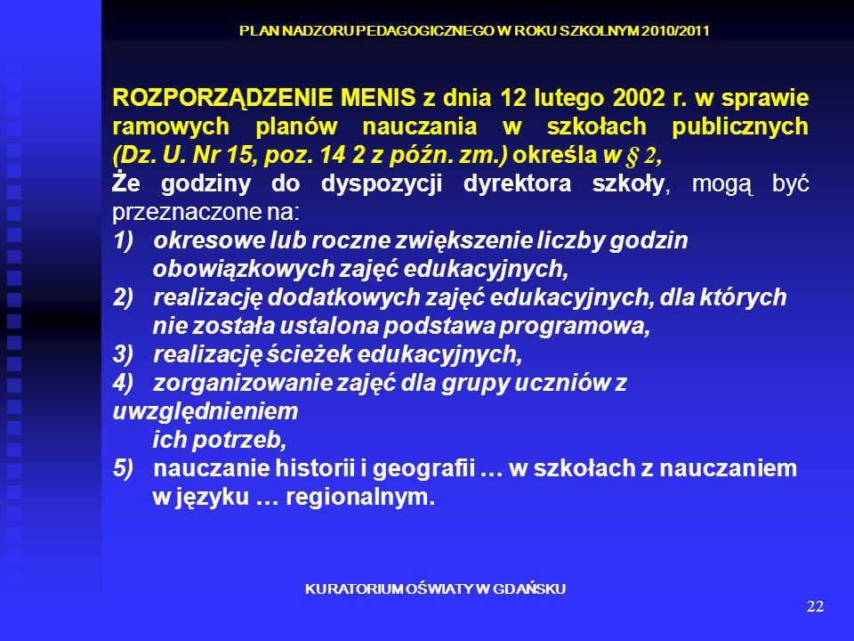 22 KURATORIUM OŚWIATY W GDAŃSKU PLAN NADZORU PEDAGOGICZNEGO W ROKU SZKOLNYM 2010/2011 ROZPORZĄDZENIE MENIS z dnia 12 lutego 2002 r. w sprawie ramowych