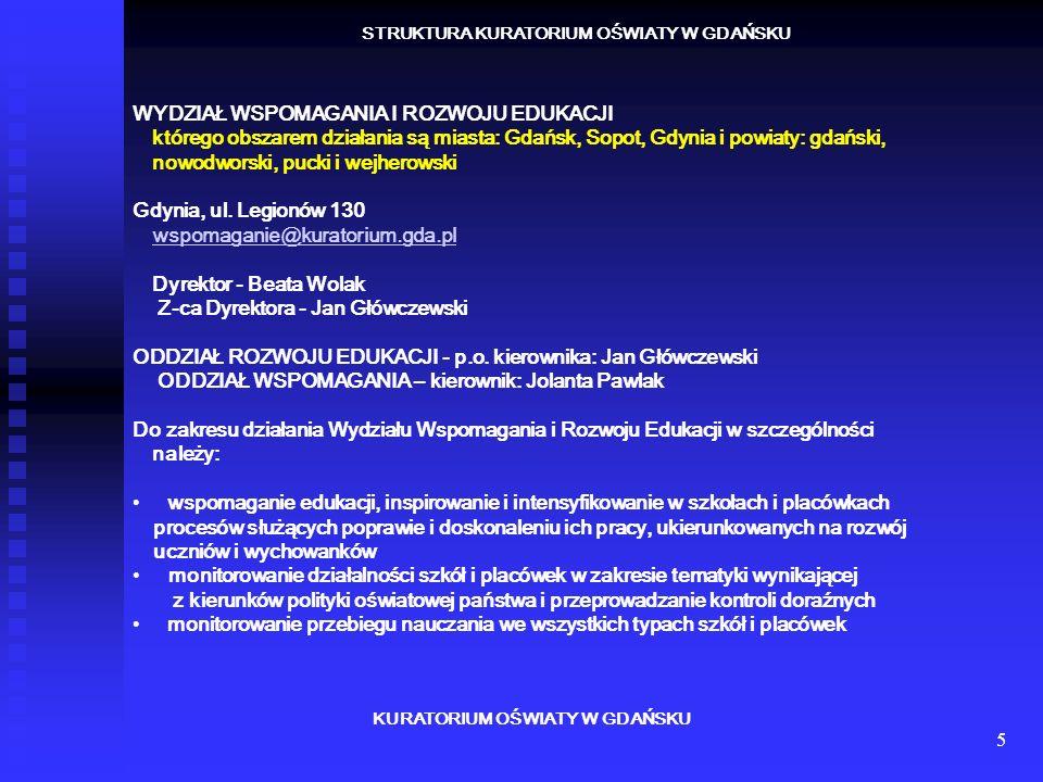 6 KURATORIUM OŚWIATY W GDAŃSKU STRUKTURA KURATORIUM OŚWIATY W GDAŃSKU DELEGATURA W SŁUPSKU którego obszarem działania są miasto Słupsk oraz powiaty: słupski, bytowski i lęborski Słupsk ul.
