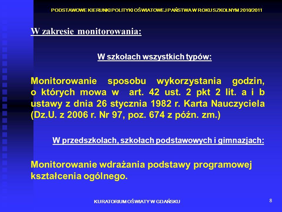 8 W zakresie monitorowania: W szkołach wszystkich typów: Monitorowanie sposobu wykorzystania godzin, o których mowa w art. 42 ust. 2 pkt 2 lit. a i b
