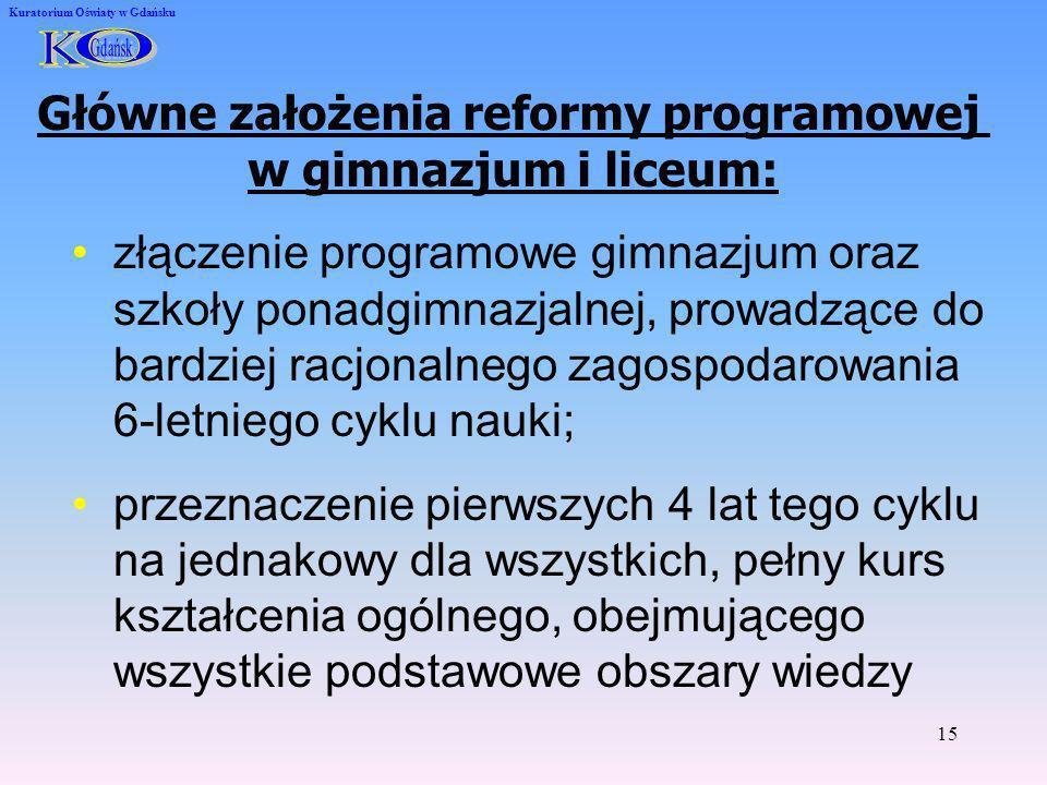 15 Kuratorium Oświaty w Gdańsku Główne założenia reformy programowej w gimnazjum i liceum: złączenie programowe gimnazjum oraz szkoły ponadgimnazjalne
