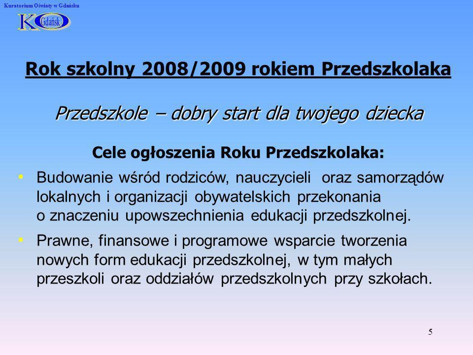 6 Kuratorium Oświaty w Gdańsku Ważne zadania edukacji przedszkolnej upowszechnienie edukacji przedszkolnej dla dzieci w wieku 3-5 lat zagwarantowanie każdemu dziecku co najmniej rocznej edukacji przedszkolnej przygotowującej do nauki w szkole zróżnicowanie form edukacji przedszkolnej