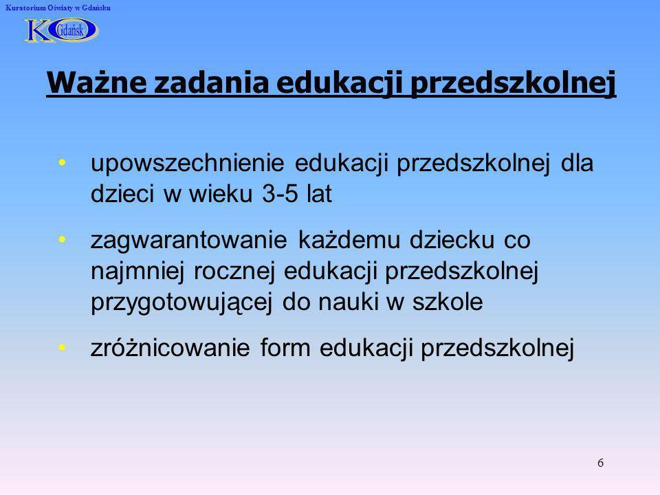6 Kuratorium Oświaty w Gdańsku Ważne zadania edukacji przedszkolnej upowszechnienie edukacji przedszkolnej dla dzieci w wieku 3-5 lat zagwarantowanie